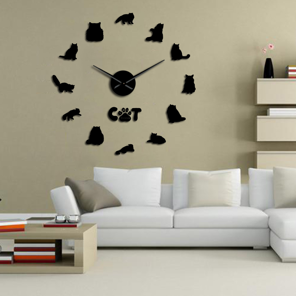 Persian Cat Large DIY Wall Clock Persian Longhair Cat Breeds Modern 3D Wall Clock With Iranian Shirazi Cat Kitty Mirror Stickers