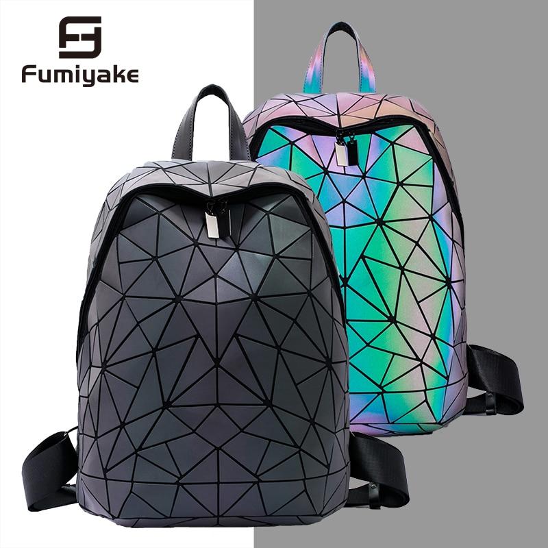 New Luminous Women Backpack Men 15-inch Laptop Backpacks Student School Bags Holographic Geometry Travel Bagpack Bag Mochila