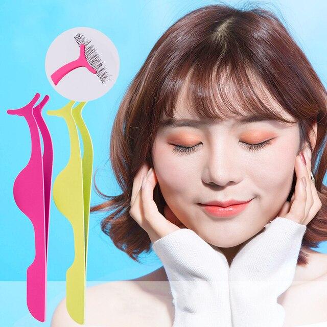 1PC False Eyelash Tweezers Fake Eyelashes Extension Applicator Eye Lashes Curler Nipper Auxiliary Clamp Makeup Forceps Tools