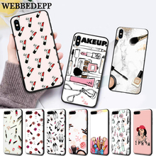 WEBBEDEPP Lipstick makeup brush Silicone soft Case for iPhone 5 SE 5S 6 6S Plus 7 8 X XS Max XR