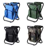 Folding Camping Chair Stool Backpack Picnic Bag Portable Hiking Seat Table Bag for Outdoor Indoor Fishing Travel Beach BBQ