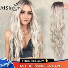 AISI BEAUTY – Perruque synthétique longue et ondulée pour femme, avec partie naturelle, cheveux latéraux, ombré, couleurs platine, blonde, et noire, thermorésistante