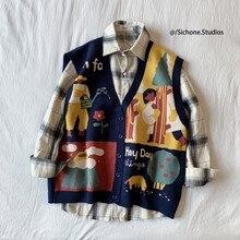 LEGIBLE – sweat-shirt en tricot sans manches pour homme, imprimé coréen, coupe ample