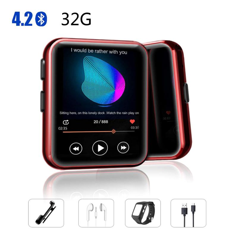 Bluetooth MP3 Touch Screen Watch 8/16GB Clip MP3 Player For Running Cycling Hiking Support Recording FM Radio
