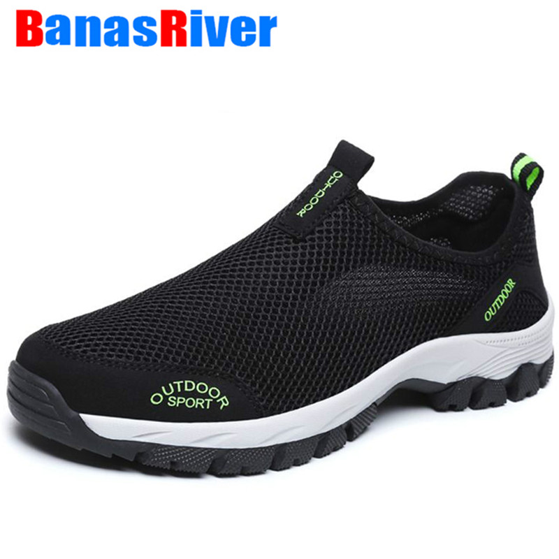 New Men Summer Comfortable Casual Shoes Slip-on Hollow Breathable Mesh Outdoor Sport Flats Trainers Sneakers Water Loafers 39-49