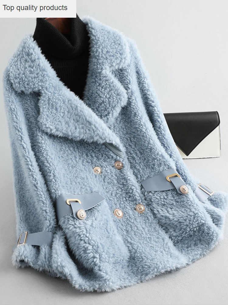 2020 abrigo de piel y lana real para mujer ropa invierno ovejas esquilador chaquetas de cuero abrigos con bolsillos forro de gamuza femenina abrigo YQ421