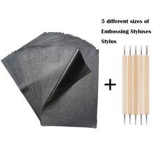 100 pièces noir A4 copie carbone papier peinture transfert papier Graphite peinture réutilisable pour bois papier toile accessoires avec outil