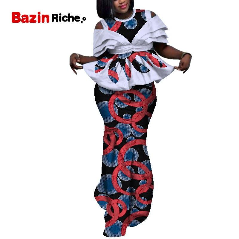 Ensemble deux pièces imprimé cire africaine 2019 Bazin Riche élégant vêtements traditionnels africains Dashiki haut court et jupe ensembles WY5107