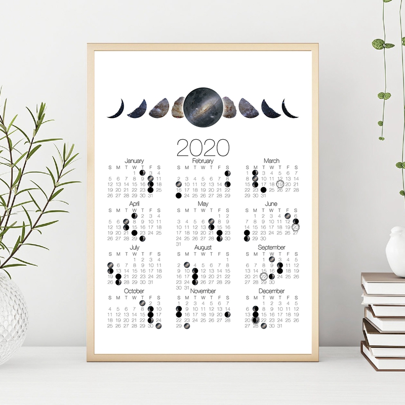 2020 Moon Phase Calendar Canvas Print Andromeda Galaxy Moon Phases Poster Crescent Moon Lunar Calendar Art Painting Home Decor