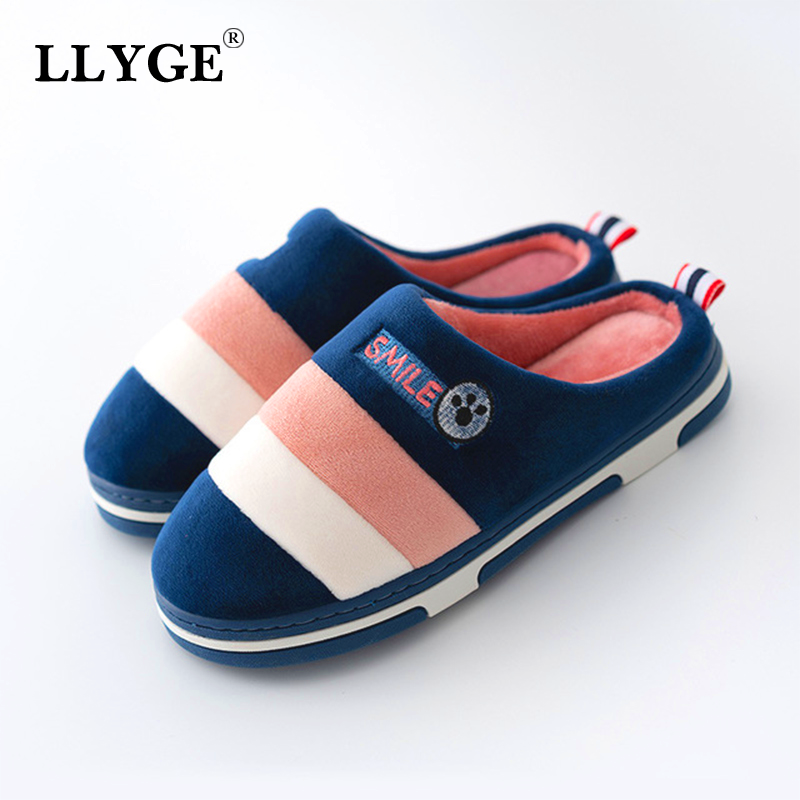 Casual Slippers Winter Women Furry Flat Warm Plush Soft Striped Slip On Fashion Classic Home Shoes Female Couple Comfort 2020