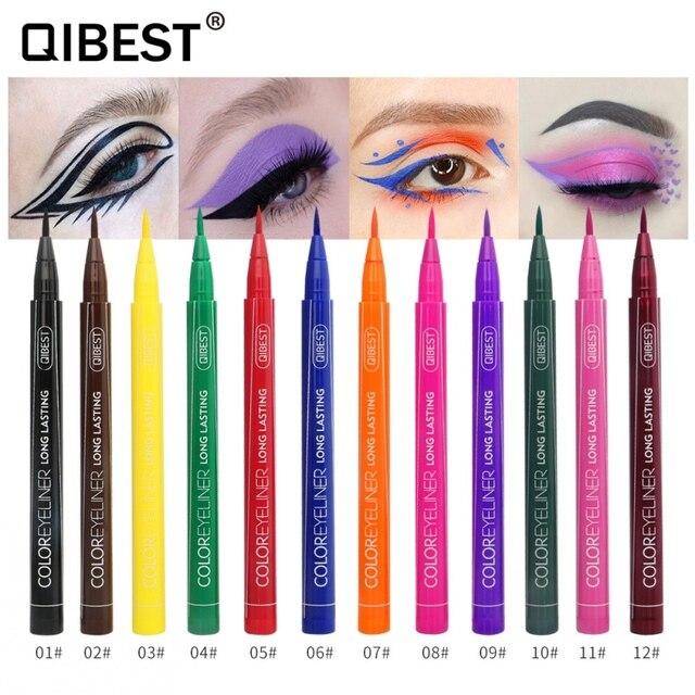 Hot 12 Color Eye Pencil Waterproof Eyeliner Liquid Make Up Matte Eye Liner Green Red Blue Brown Black Eyliner Easy To Wear 3
