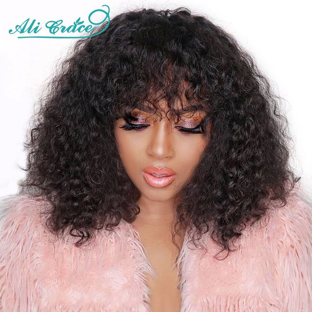 Ali Grace Kinky Curly Wig Brazilian Human Hair Wigs With Bangs Pre Plucked Hairline Full Machine Made Fringe Hair Wigs 10-26Inch