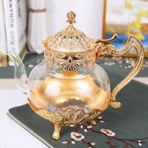 Дворцовый Золотой стеклянный чайник кухонный металлический холодный чайник кофейник Европейский стиль украшение дома стеклянная посуда п...
