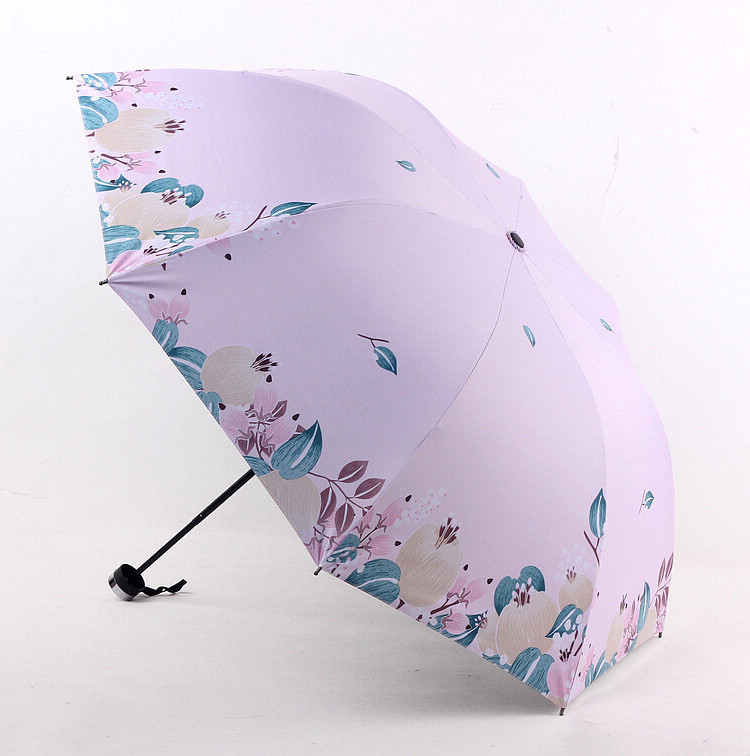 Currently Available Chunsheng Valgus Three-fold Umbrella Vinyl Half Blackout Thermal Transfer Parasol Sun-resistant All-Weather