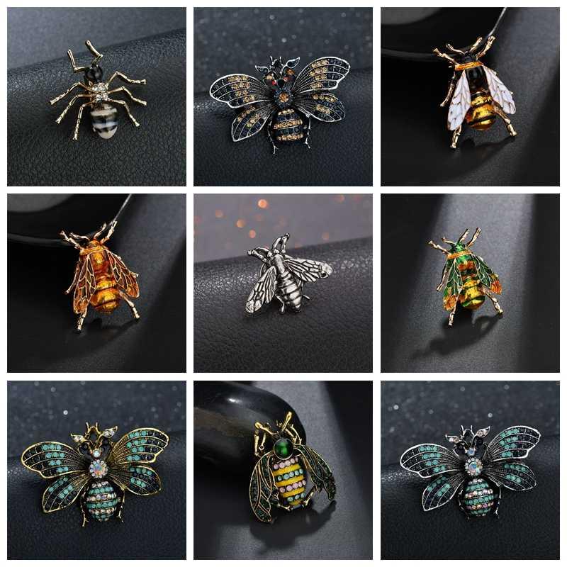 Terreau Kathy böcek Bumble Bee broş kadınlar erkekler için arı takı altın renk sarı emaye broş Rhinestone Dragonfly takı