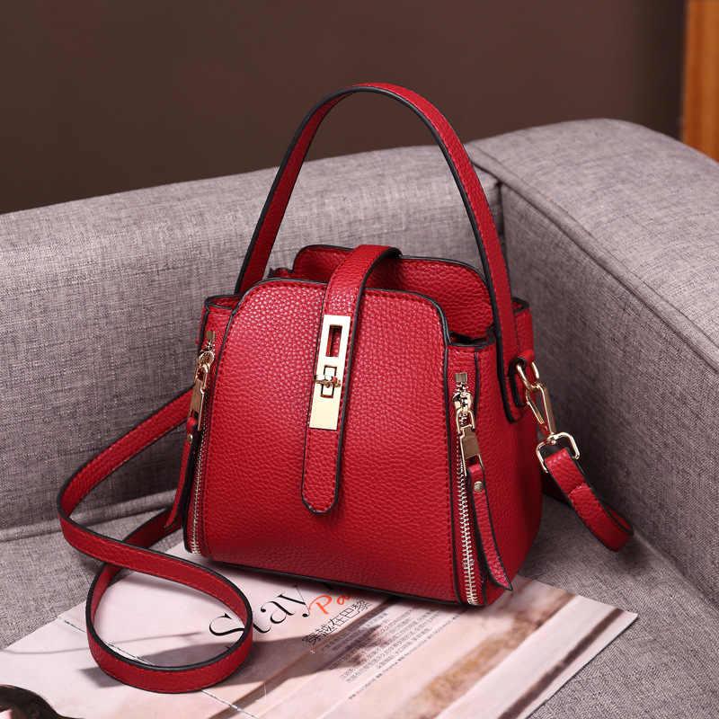 Femmes en cuir véritable sacs à main rétro solide seau sacs à bandoulière pour dames grand Alligator motif sacs à bandoulière 2019 nouveau C1168