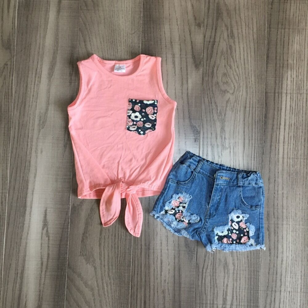 Baby Girls Vest Set  Girls Coral Waiscoat With Floral Jeans Shorts Baby Kids Boutique Outfits