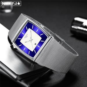 Image 3 - Mavi NIBOSI Chronograph kare saat özel tasarım spor erkek saatler su geçirmez yaratıcı izle adam kol saati Relogio Masculino