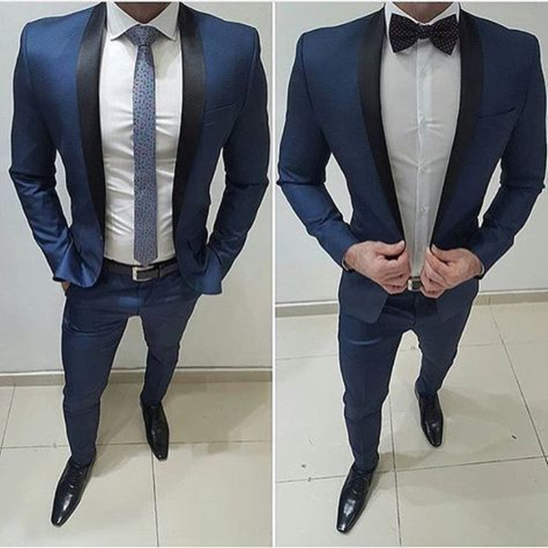 Navy Tuxedo Men Suits For Wedding 2Pieces Groomsmen Suit Blazer Petal Lapel Costume Homme Terno Party Suits(jacket+pant)