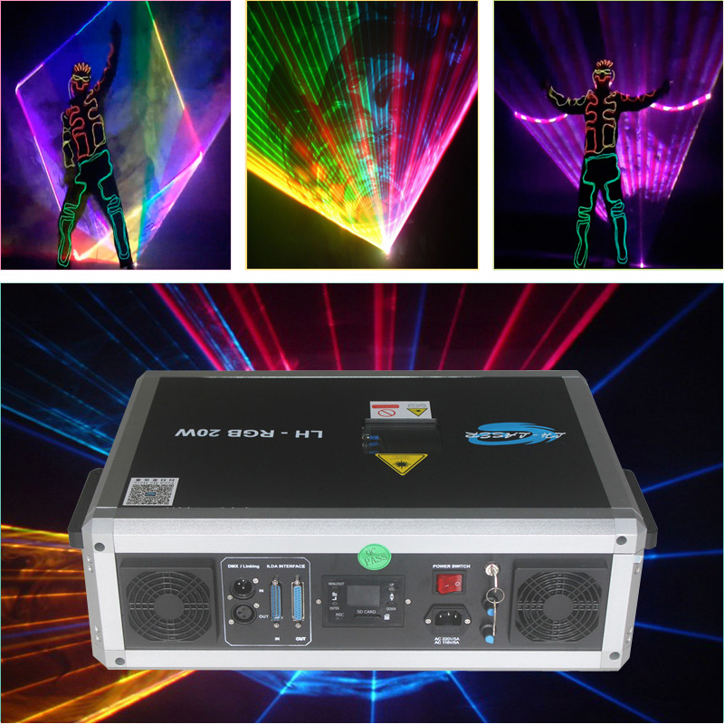 Free Shipping ILDA+SD Card 20W Mulit Color RGB Disco Laser Light Ilda Mini Stage Lighting Projector