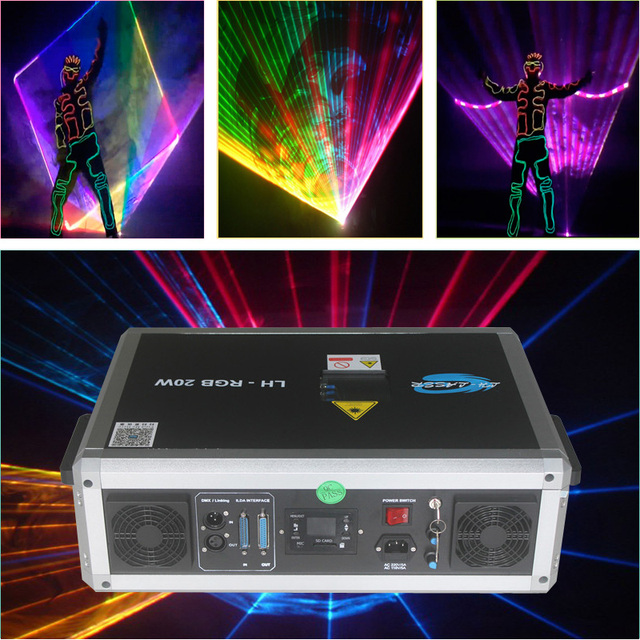 Бесплатная доставка, ILDA + sd карта, 20 Вт, разноцветный RGB лазерный светильник, ilda, мини сценический светильник, проектор