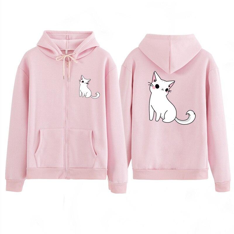2020 Women Clothing Children Couple Shirt Animal Cat Sweatshirts Spring Autumn Zipper Hoodie Sweatshirt Couple Jackets