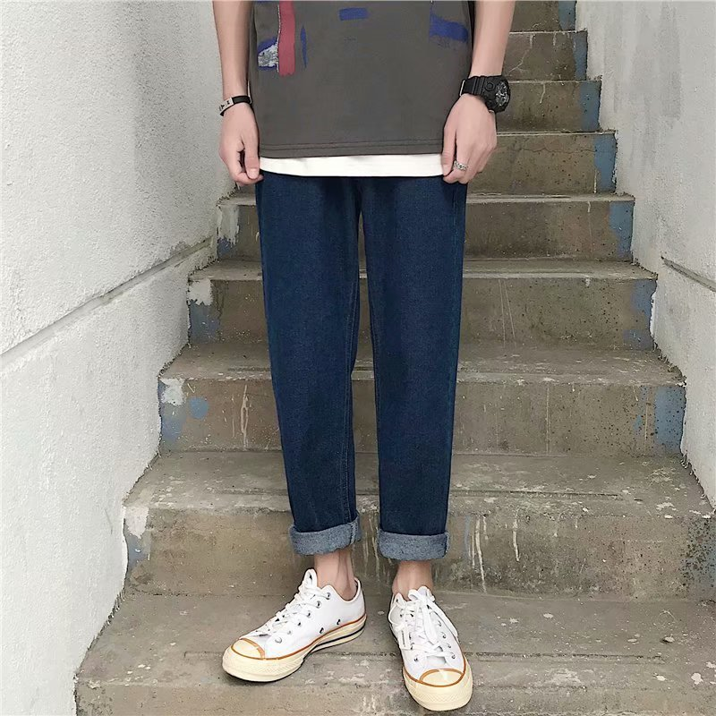 Hong Kong Style Handsome Versatile Casual Jeans Summer New Style Straight-Cut Pants Korean-style Loose-Fit Capri Pants