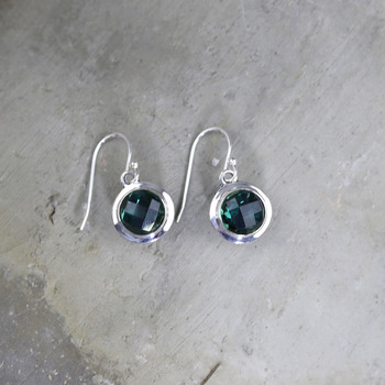 Personal silver S925 pure silver jewelry fashion hollow design women's cut green crystal earrings NEW