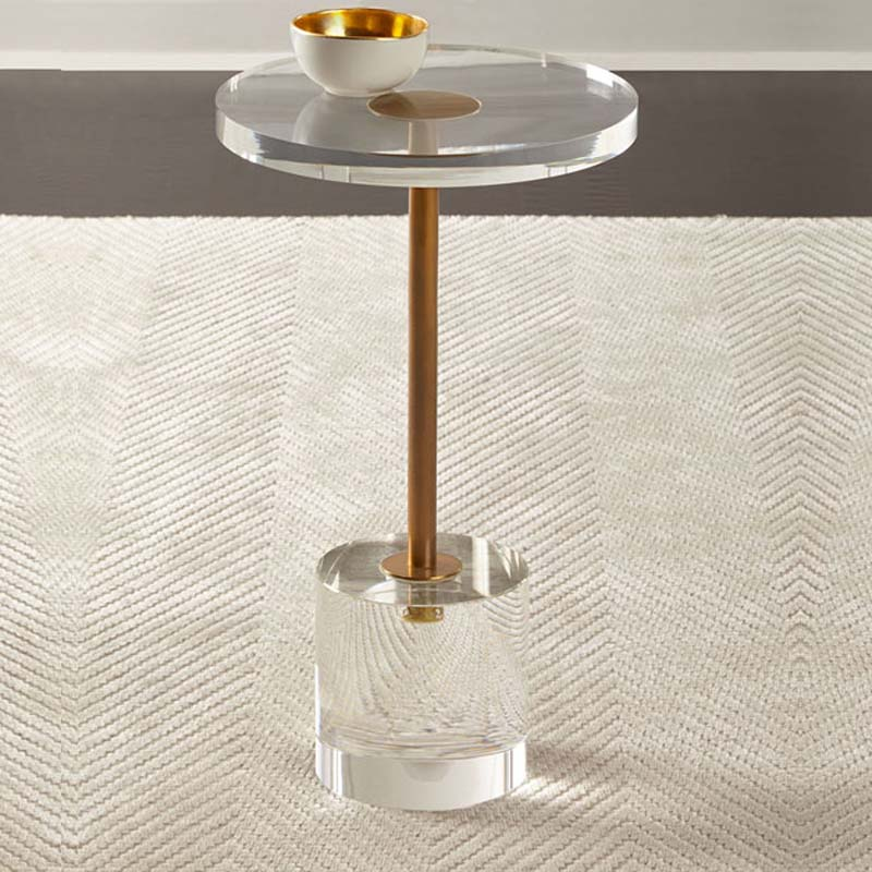 New Acrylic End Table Living Room Round Transparent Coffee Table