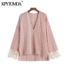 KPYTOMOA Women 2021 Fashion Hollow Out Embroidery Patchwork Loose Blouses Vintage Long Sleeve Side Vents Female Shirts Chic Tops