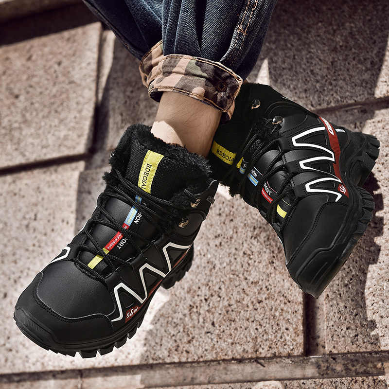 2019 Sonbahar ve Kış Yeni erkek Botları Artı Kadife Kar Botları kaymaz Pamuk Çizmeler Büyük Boy pamuklu ayakkabılar erkekler