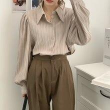 Женская блузка с морщинами на осень и зиму женские топы рабочая