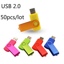 Unidad Flash USB de Metal Rotable con LOGO gratis, 1GB, 2GB, 2,0 MB, envío rápido por DHL, 50 unidades/lote