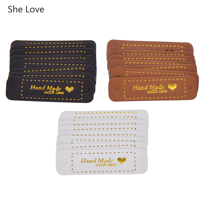 She Love 8 24Pcs/lot PU Leather Labels Diy Handmade Clothes Garment Label Tags For Jeans Bags Shoes Sewing Materials