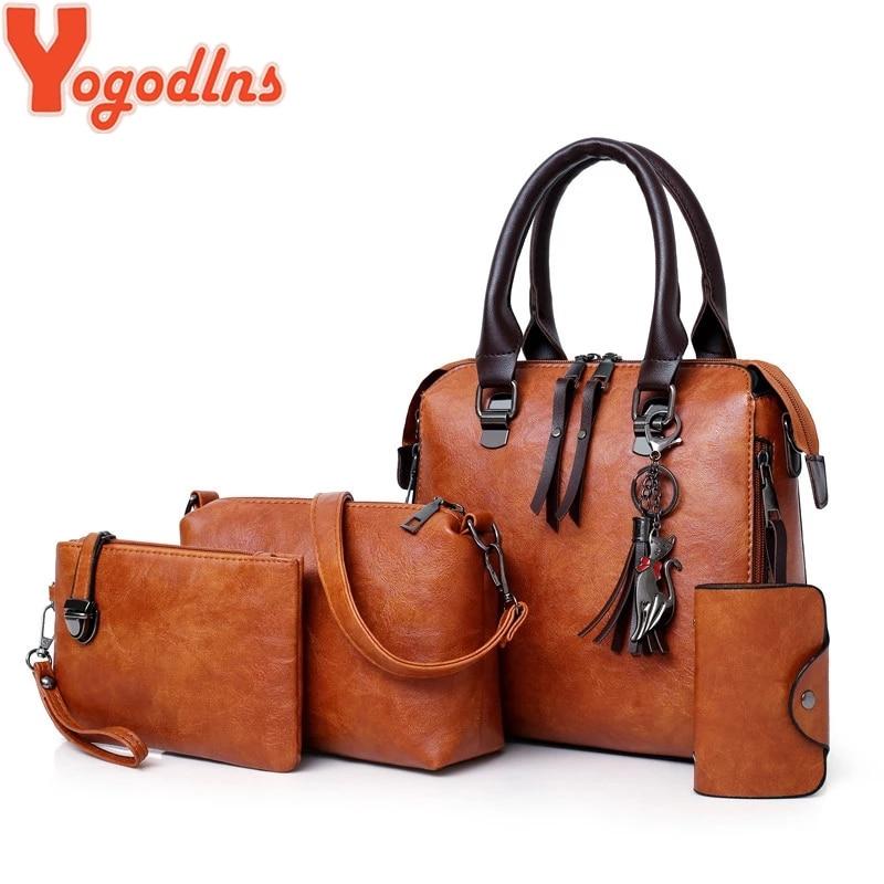 Yogodlns Fashion handbag luxury solid color female vintage designer handbags card four-piece shoulder bag Messenger bag wallet 1