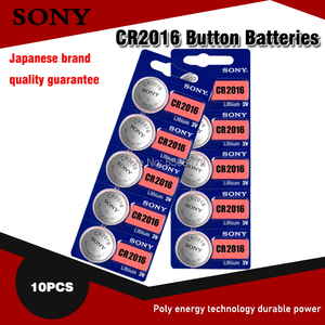 10pcs/lot sony CR2016 3V 100% Original Lithium Battery For car key watch remote control toy 2016 ECR2016 GPCR2016 Button Battery