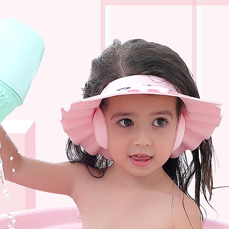 Регулируемая Шапочка для детского душа шапочка для мытья волос для новорожденных Lnfant защита ушей Безопасный детский шампунь защита для гол...