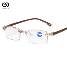 2019 frameless reading glasses ladies mens transparent lens anti-bright computer
