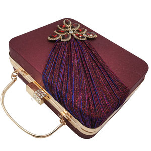 Image 3 - Boutique De FGG Wine Red Crystals Appliques Women Metal Box Clutch Evening Purses and Handbags Bridal Wedding Party Bag