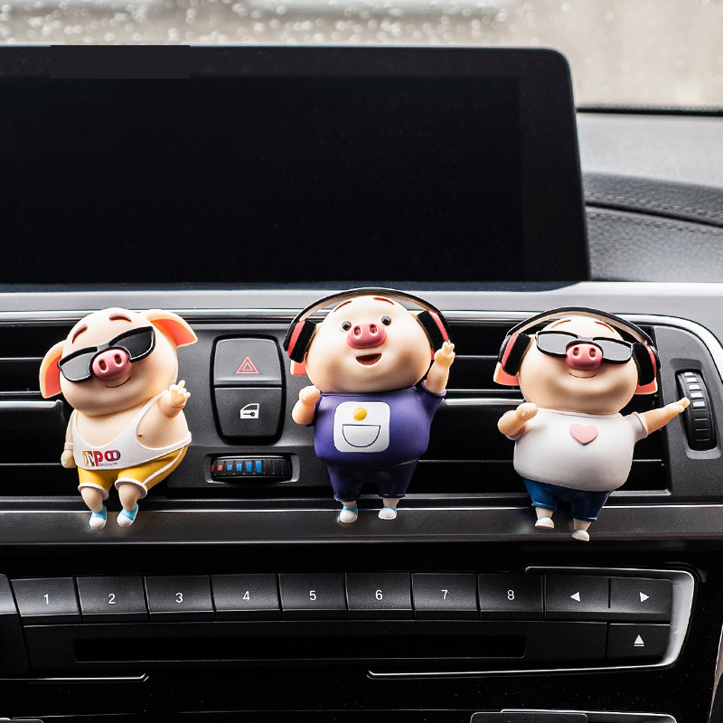 Lovely Car Perfume Cool Pig Car Air Freshener Scent Clip Refill Fragrance Auto Outlet Vent Car Ornaments