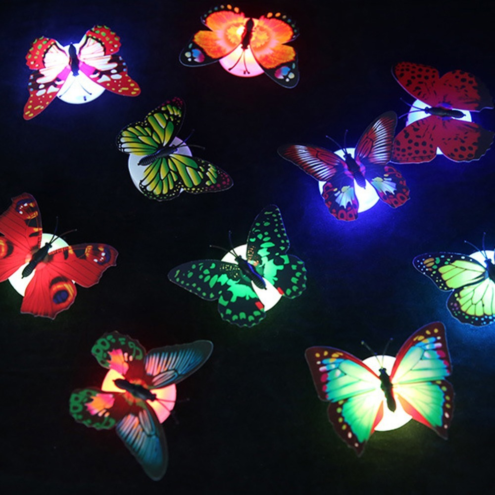 1/5/10pcs Color Light Butterfly Wall Stickers Easy Installation Night Light Home Living Kid Room Fridage Bedroom Decoration