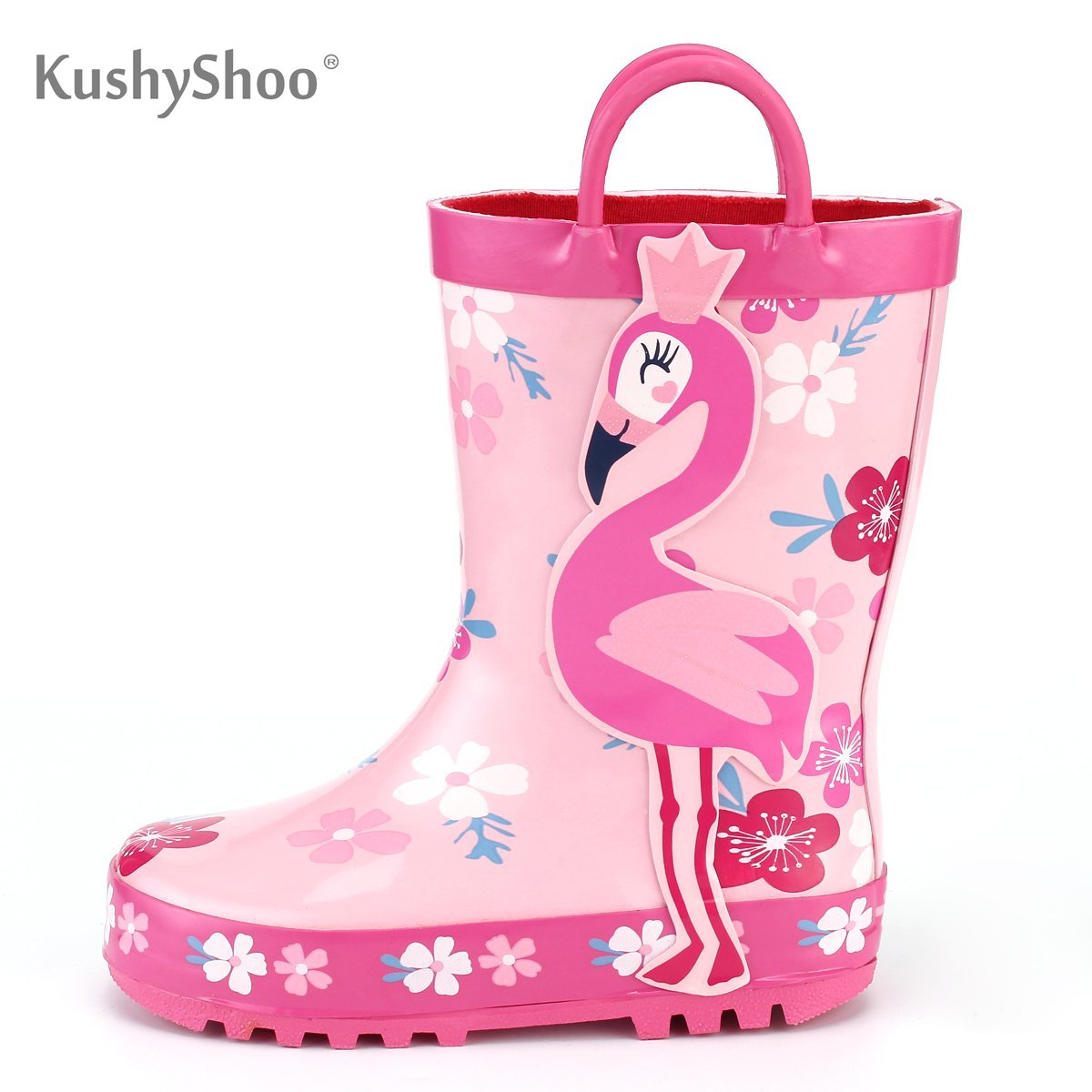 KushyShoo Children's Rubber Boots Outdoor Waterproof 3D Flamingo Printing Rain Boots Kids Toddler Water Boots Kalosze Dla Dzieci