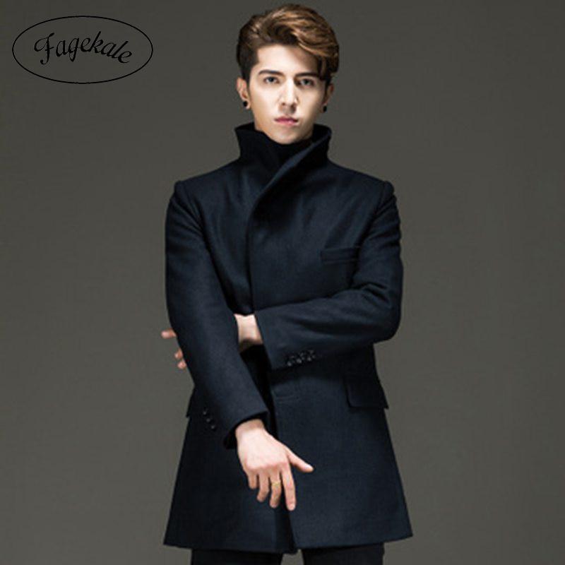 Clearance autumn and winter men's woolen woolen coat long trench coat men's coat high-end woolen coat manufacturers