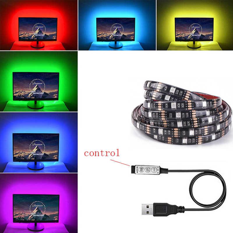 TV Hintergrund LED-Streifen Tape-Diode Band Flexible Steuerung RGB 5050 1M DC 12V Z20 SMD SMD5050 Wohnzimmer Bewegung 3000K