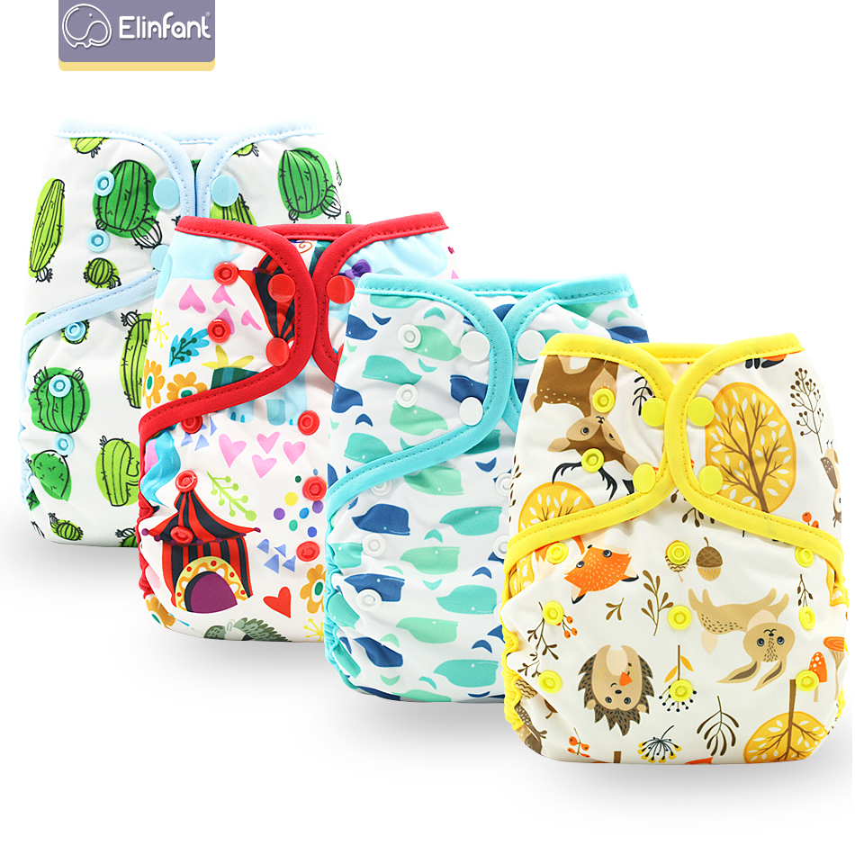 Elinfant One Size Double PUL Cover Diaper Color-Binding AIO Fast Dry 2 Parts Coffee Polar Fleece Cloth Diaper Fit3-15kg Baby