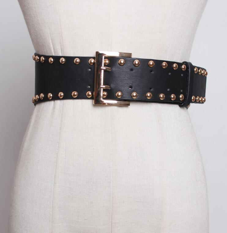 Women's Runway Fashion Rivet Vintage Pu Leather Punk Cummerbunds Female Dress Corsets Waistband Belts Decoration Wide Belt R1828
