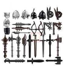 10pcs/lot Weapons Hammer Viking Roman Medieval Knight Barbarian Armor Arrow Helmet Part Building Blocks Moc Kid Toys