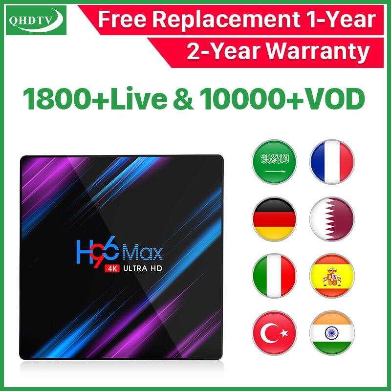 Android tv box H96 MAX IPTV arabe français italie RK3318 QHDTV 1 an Code espagne inde turquie Stable Global IPTV abonnement box