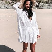 Vestido playero de algodón para Mujer, Pareos tipo caftán para la Playa, Pareos de encaje para Mujer # Q662
