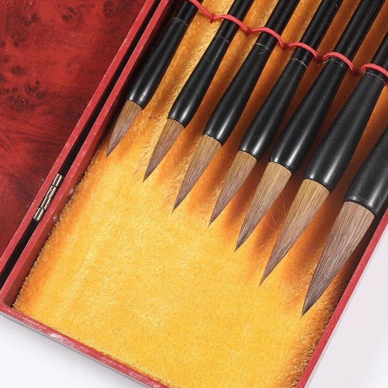 Набор кистей для каллиграфии «волчьи волосы», 7 шт., набор кистей для рисования с коробкой, Китайская традиционная культура для взрослых и де...